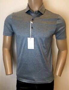 GRAN SASSO Italy Slate Blue Luxury 100% Cotton Polo Shirt RRP: £125.00