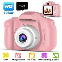 Kids Digital Camera Camcorder 12MP 1080P FHD Video Camera 4X Zoom 16GB Card Gift