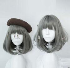 Silver Grey Ash Wig Fashion Bob Cosplay Harajuku Short Straight Hair Curly Wig