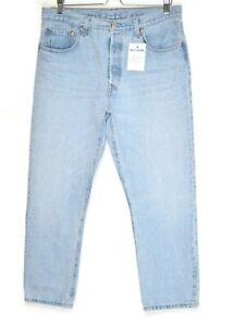 Womens Levis 501 HIGH RISE STRAIGHT CROP Light Blue PREMIUM Jeans 14 W32 L26