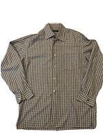 Ermenegildo Zegna Men's Long Sleeve Shirt Size L Gray Plaid Casual Button Italy