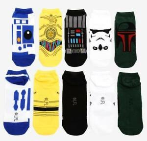 New Star Wars Character No-Show Socks 5 Pair R2-D2, C-3PO, Darth Vader Boba Fett