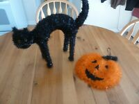 Halloween Decorations Jack-O-Lantern Door Hanger & Black Cat
