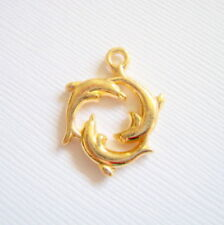 6 Gold Plated Dolphin Charms, 21x16mm, Jewelry Making Supplies, Charms  G1386