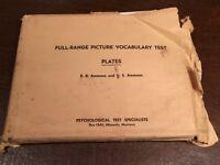 Vintage 1948 AMMONS Psychological Full-Range Picture Vocabulary Test Plates Set