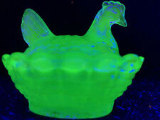 Blue Vaseline glass salt eggs dip hen chicken on nest basket dish Cobalt uranium