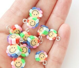 Polymer Clay charms Flower with Smile perfect for party earrings crafts  x 12