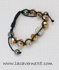 Bracelet shamballa 8 perles de verre, 4  hématite,1  strass cordon noir bijoux