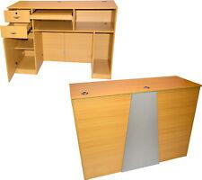 Extra Large Oak Reception Computer Desk Locking Drawer Salon Beauty Equipment