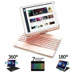 Keyboard Case For iPad Air 2 Air 3 Air 1 7 Color Backlit 360 Rotating Bluetooth