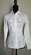 Obstinee Womens Shirt Blouse Button Down Size 4 White Color NWT $194