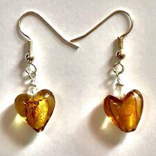Amber heart lampwork earrings 12 mm heart 35 mm total drop