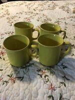 Vintage Japan Yellow Ceramic Handled Coffee Tea Cups Mugs Set of 4 Lot