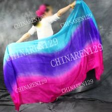 8M//M HALF CIRCLE BELLY DANCE 100/% SILK VEIL blue purple pink orange 3666