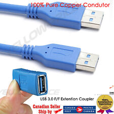 USB 3.0 6FT A Male To Male Plug Extension Adapter Charger + USB 3.0 F/F Coupler