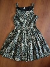 Willow and Clay Floral Sleeveless Pleated dress size Large Gray Tan Black white