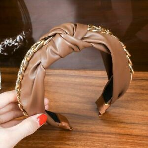 Women Headbands Chains Pu Leather Top Headwear Fashion Hair Ribbons Accessories