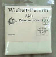 "Wichelt Imports PREMIUM Cross Stitch Fabric AIDA 14ct 18"" X 25"" TOUCH OF YELLOW"