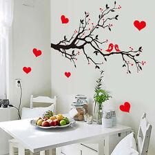 DIY Plum Flower Red Heart Bird Lovers Wall Stickers Room Decals Decor New
