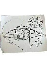 "Bob Lazar Autograph Area 51 UFO ""Sport Model"" Sketch Signed In Hand Ships Fast"