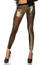NEW GOLD PUNK EMO ALTERNATIVE CUT OUT MESH FULL LENGTH LEGGINGS - UK SELLER