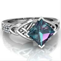 Suqare Cut Handmade London Blue Topaz Gems Silver Woman Flower Ring Size 6-10