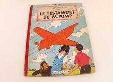 BD Jo, Zette et Jocko Le Testament de M. Pump 1951 4ème plat B5 Hergé Casterman