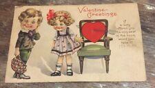 Vintage Valentine's Day Postcard Two Children Chair Heart Damaged