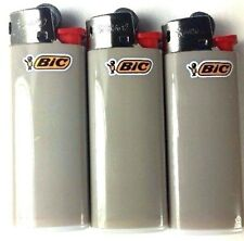 3 Grey Mini Bic Lighters - Small Size Gray Made in France