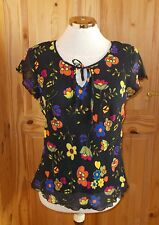 ROMAN black orange yellow blue red chiffon floral short sleeve tunic top 10-12