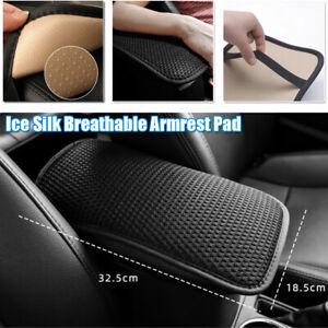 Car Ice Silk Armrest Box Cushion Breathable Auto Central Hand-held Box Mat Black