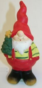 Beautiful Red Decorative Gnome With Christmas Tree 16cm Garden Dwarf