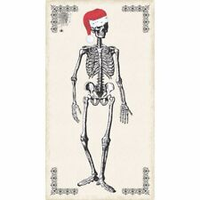 Chillingsworth Christmas Fabric Panel Christmas Skeleton On Cream OOP Cotton