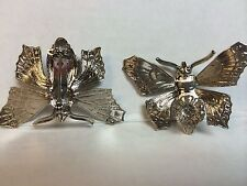 Brooch pin settings silver plated butterfly Lot of 8