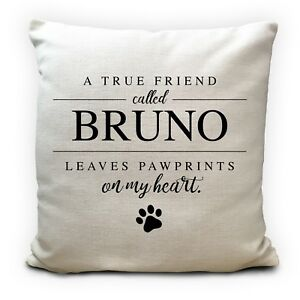 Personalised Dog Pet Name Cushion Pillow Cover Paw Prints on My Heart 16 inches