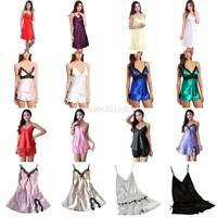 US Womens Silk Lace Robe Nightgown Lingerie Babydoll Nightdress Ladies Sleepwear