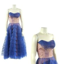Vintage 50s Sheer Dark Blue Tulle Strapless Hi Low Hem Tiered Party Prom Dress