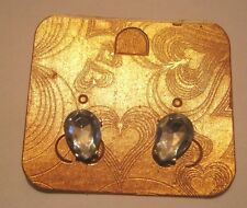 Lovely tear drop shaped faceted stone design clip on earrings approx 1 cm long