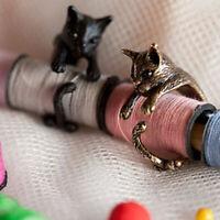 handarbeit. geschenk frauen open design legierung katze ringe vintage - schmuck