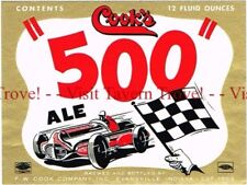 Unused 1950s INDIANA Red Cook's Indy 500 Ale Race Car 12oz Label