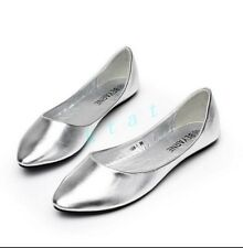 Womens Flat Heels Causal Pointy Toe Faux Leather OL Court Dress Shoes Loafters 8
