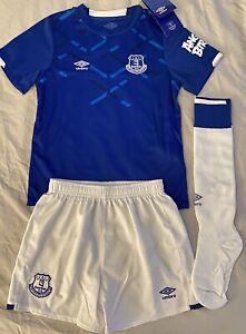Umbro Everton Kids Unisex Soccer Uniform Set Jersey/shorts/socks Kids Size 6-7Y