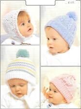 Vintage Baby Hats  Knitting Pattern , DK, birth - 2 years.  Pompoms, Girls/Boys