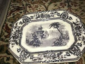 GORGEOUS MID 19TH CENTURY DAVENPORT CYPRUS FLOW BLACK TRANSFERWARE PLATTER!