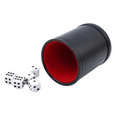 PU Leather High Quality Dice Cup + 5pcs White Dice Set Entertainment Game Tool B