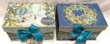 Christmas Peacock Small Storage Stacking  Boxes  Set of 2 New