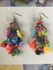 Handmade Mismatched Spring Butterfly Cup Bows Dangle Earrings OOAK Rare New