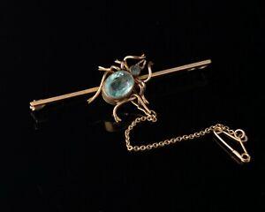 Antik 15ct Gold Spinne Brosche, Aquamarin Paste,Verpackt,Edwardianisch