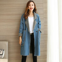 Women's Loose Large Size Denim Coat Thick Solid Color Winter Long Jacket Yoooca