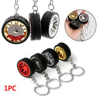 Creative Decoration Rubber Round Car Keychain Wheel Keyring Metal Tire